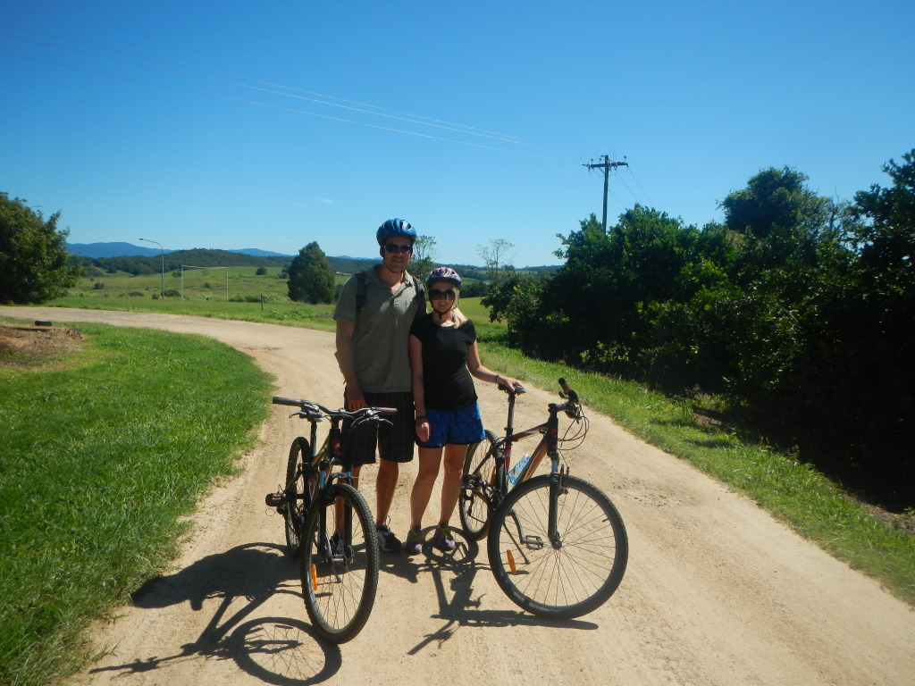 Shannon and Stephen Bicycling in Daintree National Forest in Australia