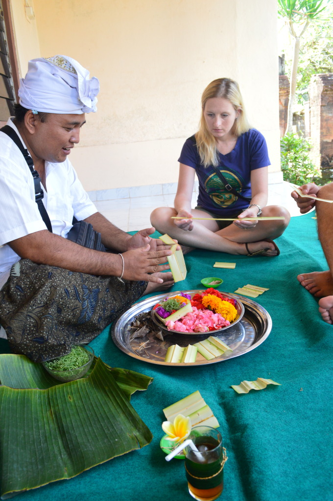 Shannon making a Balinese Offering