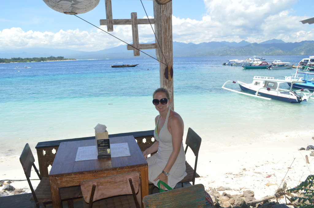 Shannon at Ecco Boutique Cafe on Gili Trawangan, Indonesia